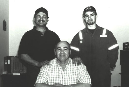Rick Sr., his nephew Rick Lee Abel (current VP of Support Services) and son Brad (now President) around 1998.