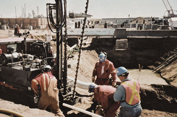 Ketek crew working on a massive groundwater dewatering project for the Scotford upgrader, north of Edmonton, in 2002.
