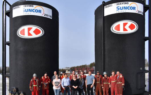 Last spring, Ketek Fort McMurray refurbished these two 400-barrel tanks before delivering them to a Suncor site for a long-term project